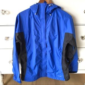 LL Bean blue black windbreaker with hood - M
